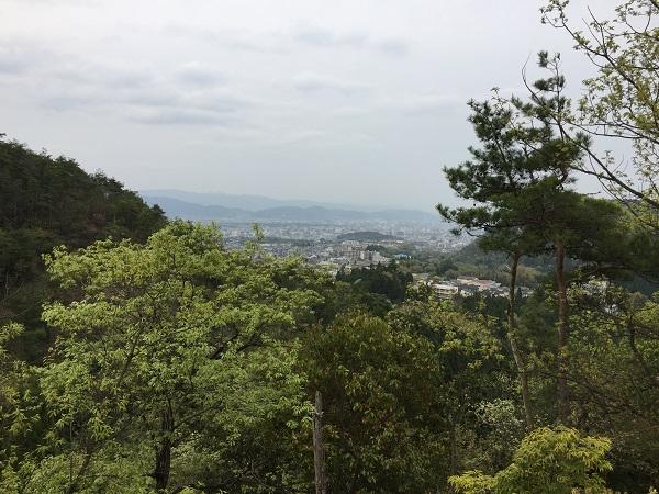 京見峠唯一の京都市街地展望ポイント。昔はもっと見れるポイントがあったとのこと。