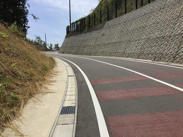 京見峠登板開始直後の山道を抜けたところのきれいな舗装路。この先に京見ポイントがある。