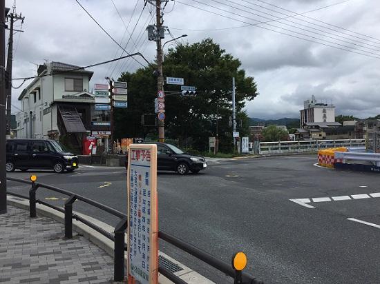 御園橋西詰。東へ渡れば上賀茂神社はすぐ。現在工事中。
