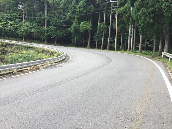 終盤の山道区間。広い道幅とキレイな舗装面。