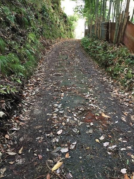 京都市側の最後の急勾配 路面の荒れ具合がすごい